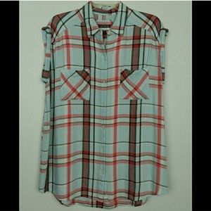 Express Plaid Roll Sleeve Button Down Top